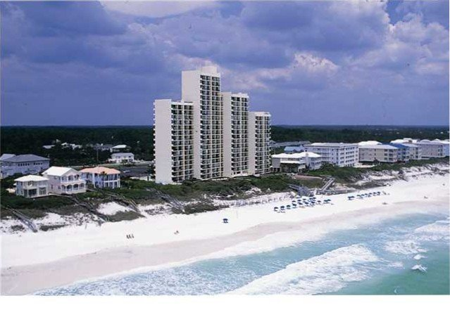 View of One Seagrove Place from the beach.