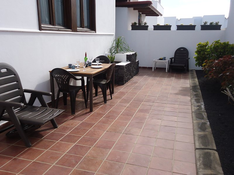 Private terrace and entry to the apartment.
