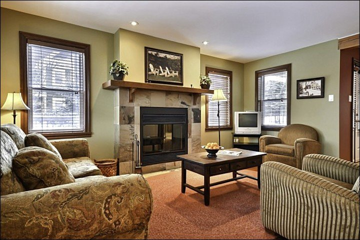 The Living Area Featuring Wood Burning Fireplace and Welcoming Furnishings and Decor