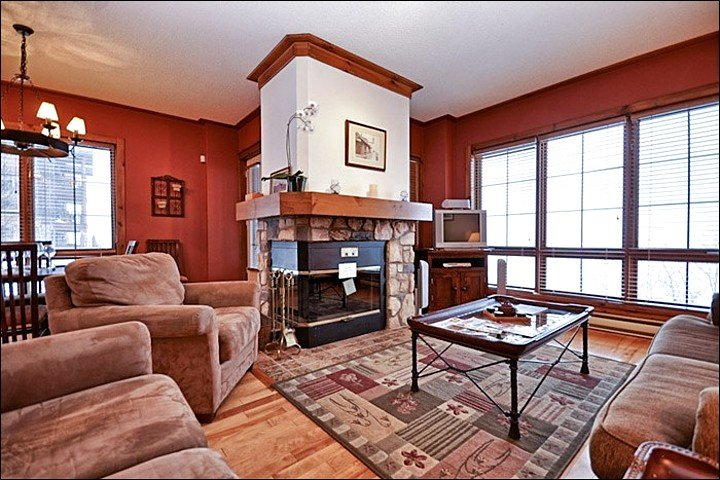 Living Room Features a Cozy Stone Fireplace and Tasteful Furnishings