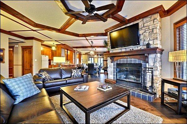 Bel soggiorno con camino e TV a schermo piatto