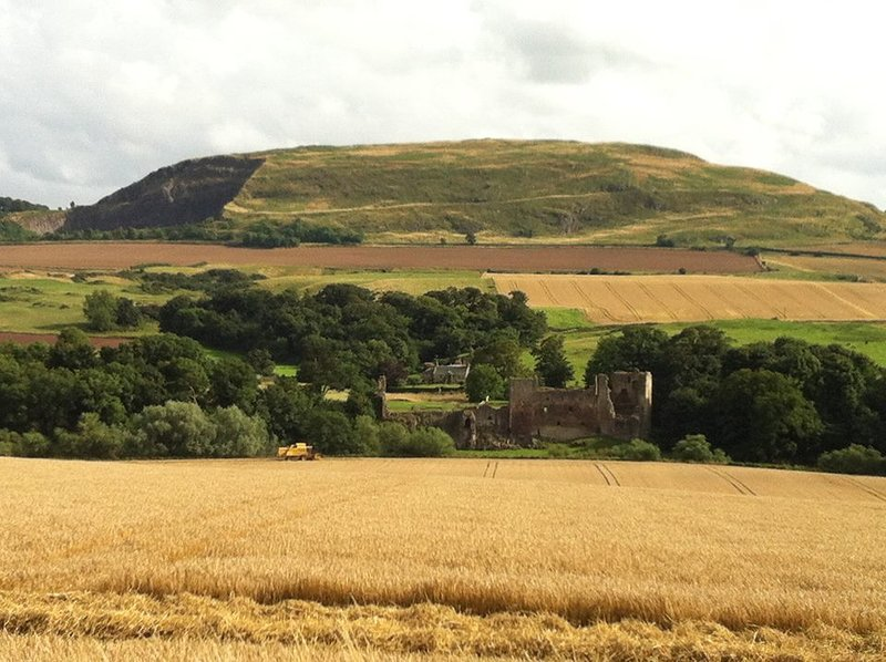 Hailes Castle and wheat field