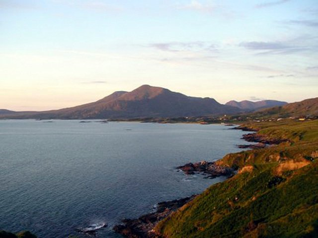View of the coast with Mweelrea- Connachts highest mountain in the background