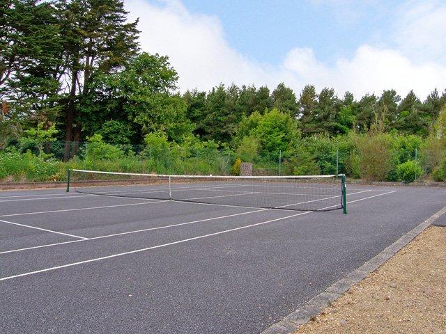 On site tennis court