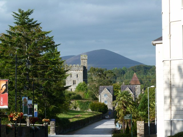 Lismore Castle and Knockmealdown Mountain in the background