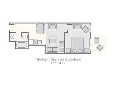 Floor plan of a one bedroom.