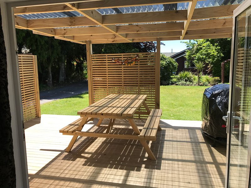 New bi -folds doors to connect the indoors to the outdoor bbq area