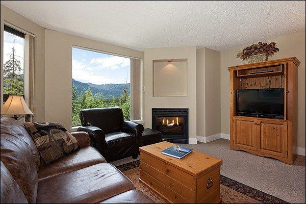 Sala de estar con sofá cama doble, chimenea y TV