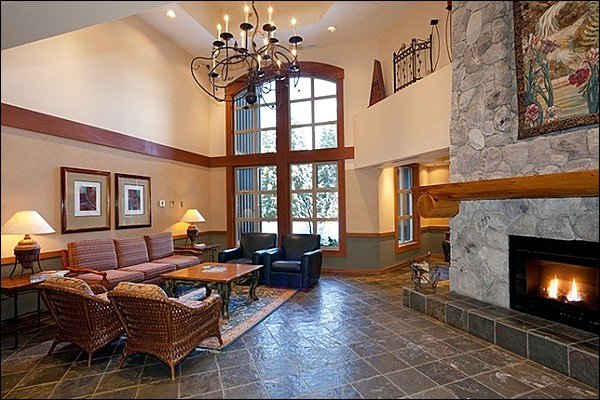 Lodge Great Room has Vaulted Ceilings and a Cozy Fireplace