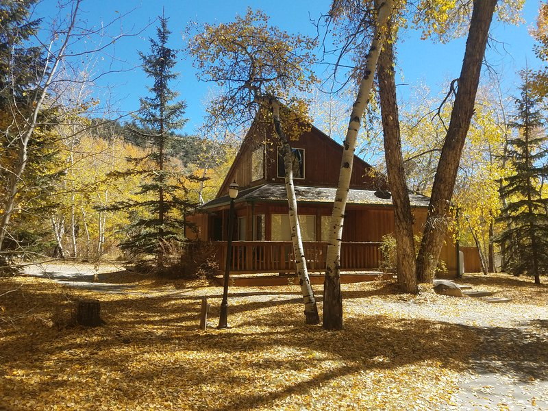 Mt. Yale has a lovely deck, picnic table and grill to enjoy on your mountain getaway