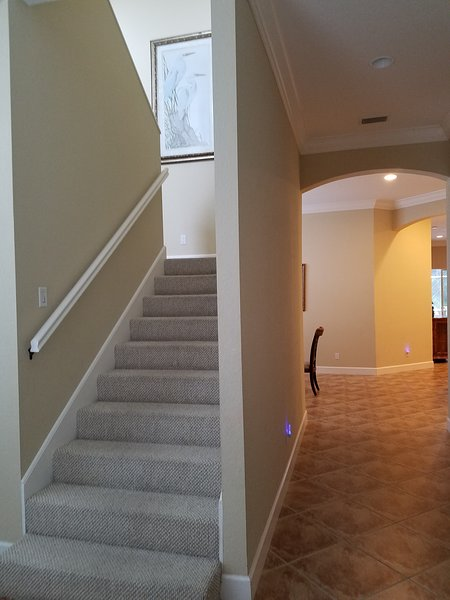 Spacious interior. Wide stairway
