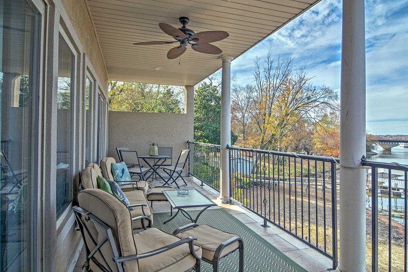 Enjoy lakefront views from at this Hot Springs vacation rental house!