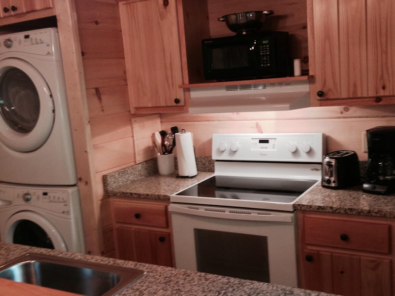 Full kitchen so you can cook at the cabin!