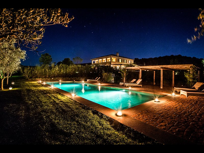 View of Pool by night