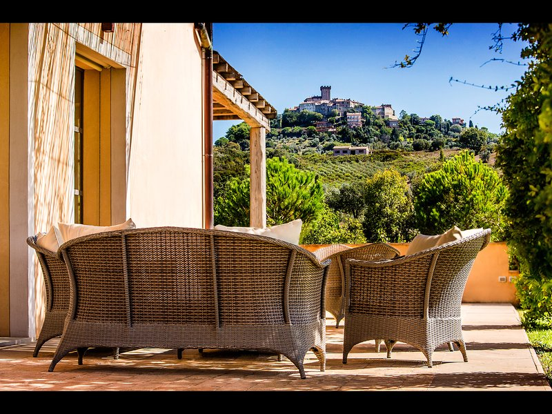 Direct, unobstructed  Views on the town of Capalbio from the villa's outdoors