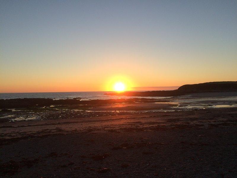 Sunset over Trefadog beach