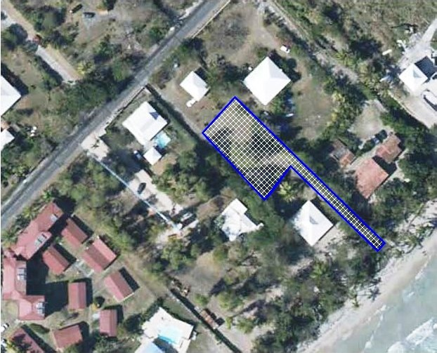 aerial view villa situation and beach path