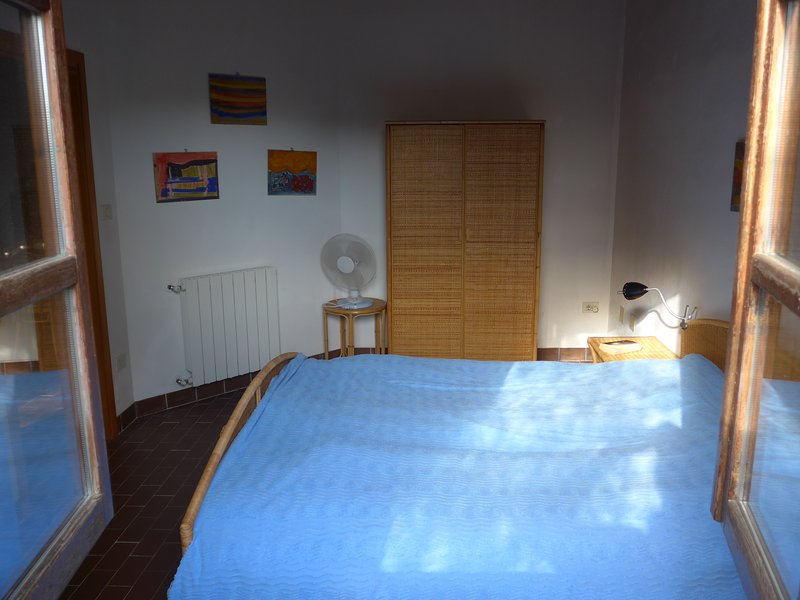 view into the bedroom from outside