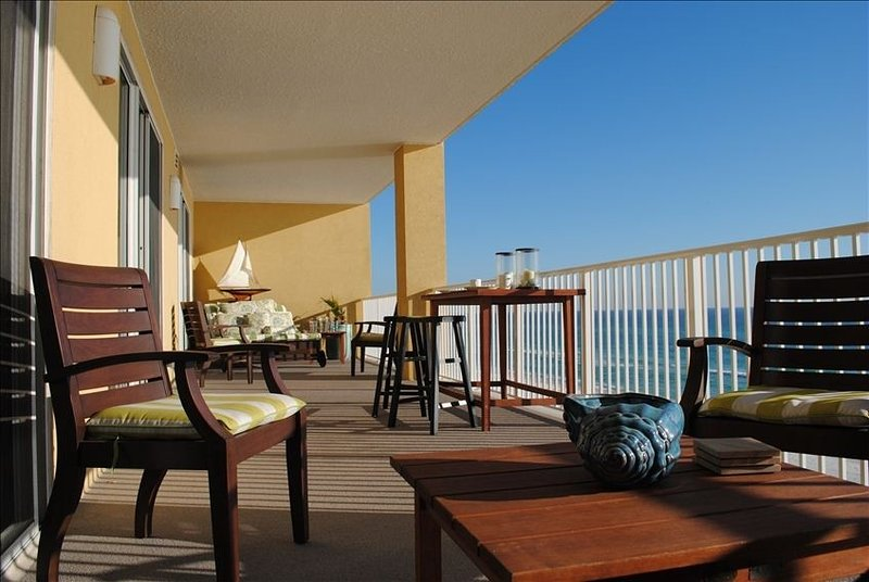 Beautifully furnished 430 sq. ft. balcony overlooking the Emerald Coast.