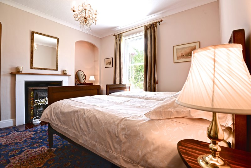 Ground-floor twin bedroom, ideal for less mobile guests. Located next to a large bathroom