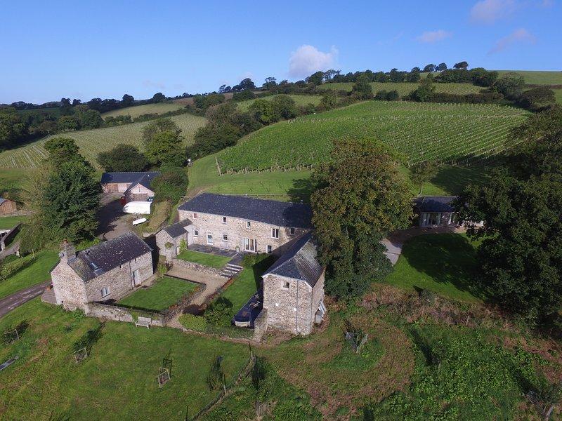 Coombe Farm está rodeado por 64 acres de vinhas, pomares e pastagens
