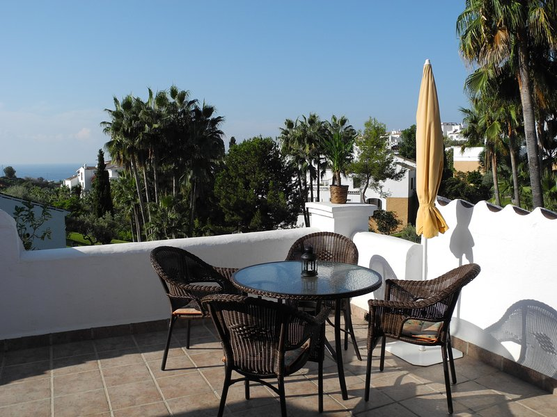 Lovely garden & sea views from the the sunny terrace