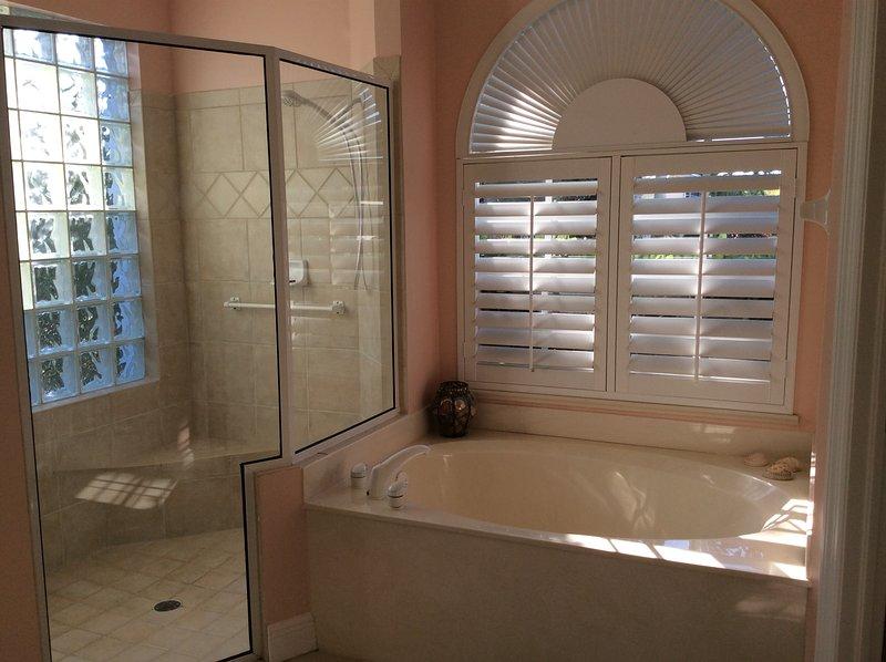 Soaking tub and oversize shower