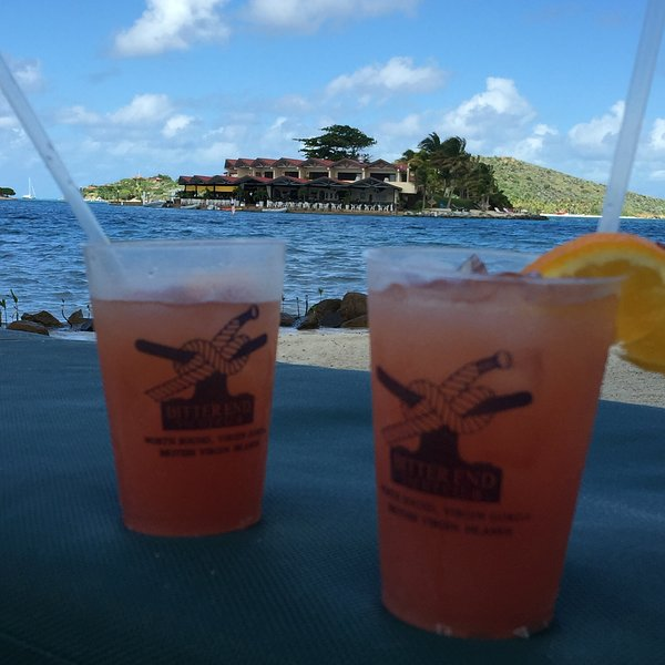 Cocktails at Bitter End Yacht Club or Saba Rock, or both!