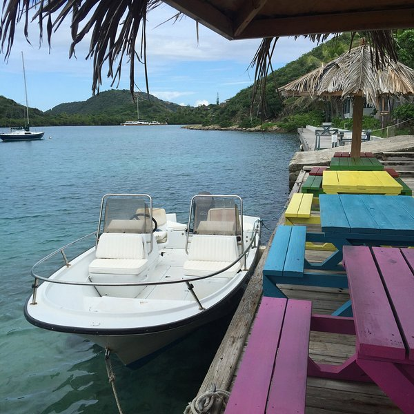 Rent a Boston whaler to explore our North Sound - have lunch at well-loved 'Fat Virgin Cafe'