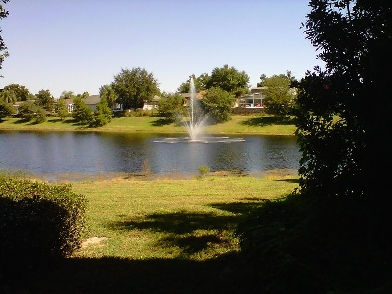The wonderful view of the lake and fountain from our condo