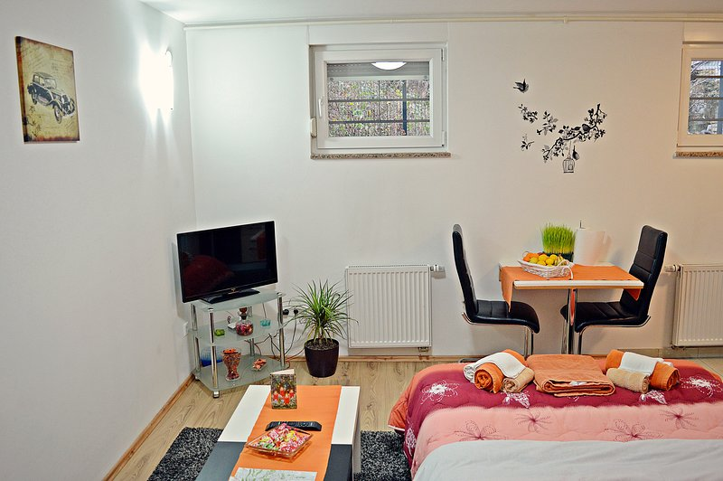 Studio apartment's living room with LCD TV, dining area, kitchen and double bed (140x200 cm).