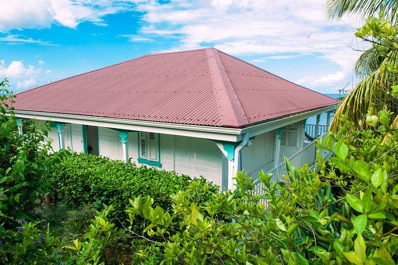 Villa Creole courbaril and mahogany decks and walkways make the tour, sea view