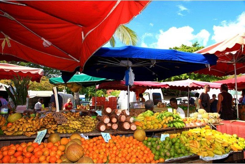 center of Sainte-Anne and its market 15 mins walk