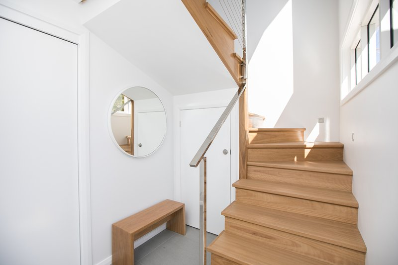 Blackbutt timber staircase from entry foyer to upstairs