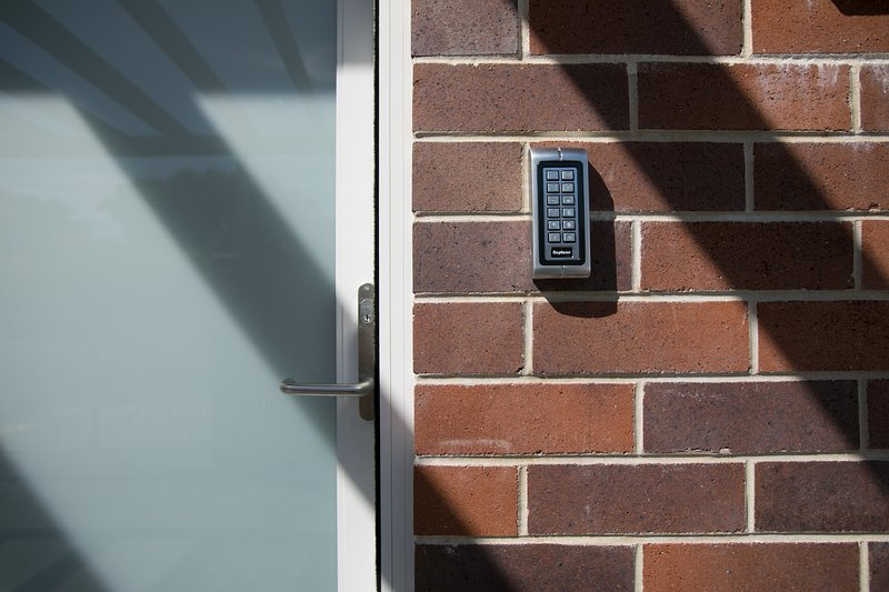Keypad access, no keys required.  Easy!