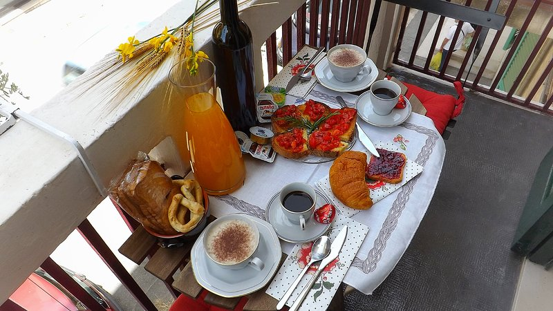 Breakfast outside the balcony