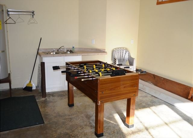 Single car garage with Foos Ball table