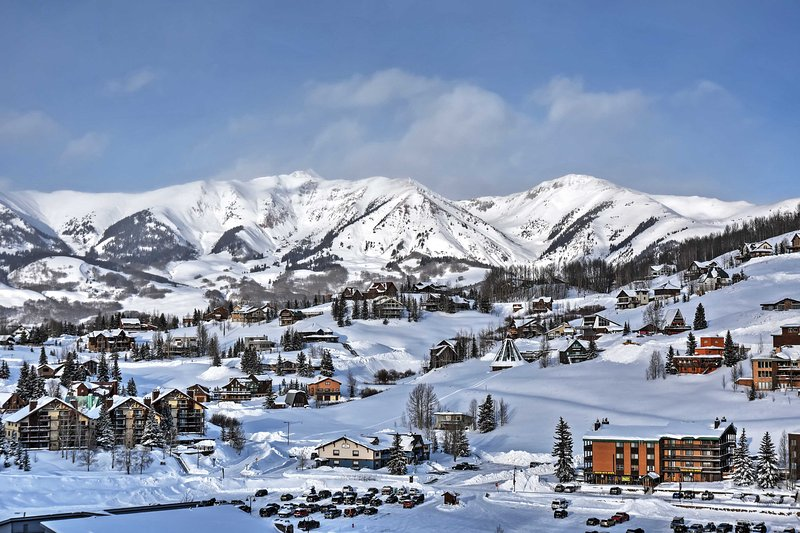 The townhome offers marvelous views of the surrounding mountains, including Mount Crested Butte.