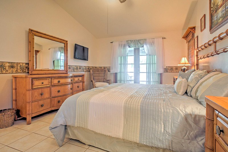 After an active day outdoors, retreat to the master bedroom's king-sized bed.