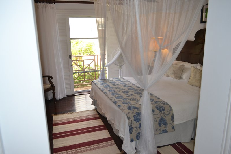 Master bedroom with comfortable king size bed and canopy