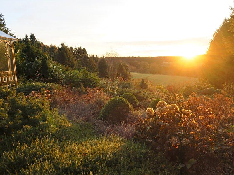 La salida del sol en el jardín