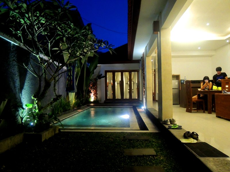 Outdoor private; pool,living room,kitchen,and dinning area