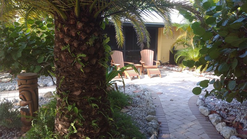Outdoor gardens on large double lot 150 ft to the beach!