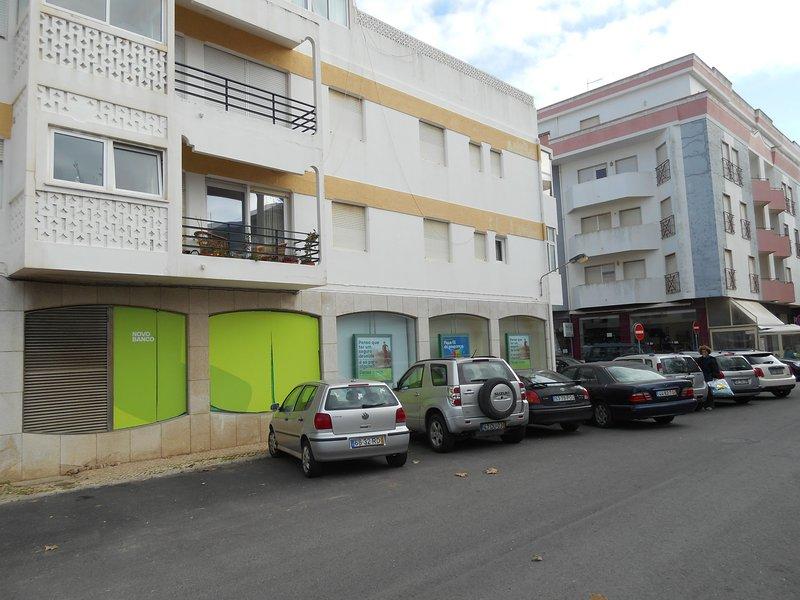 Rear entrance to property.  Balcony to Vista da Marina apartment on 1st floor above the bank.