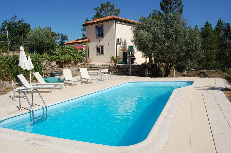 Secluded villa in woodland close to the lake, with private pool and volleyball ., location de vacances à Santa Comba Dao