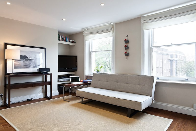 Living room with bright windows, sofabed and entertainment system WIFI PS3, Cable Tv, sofa-bed too
