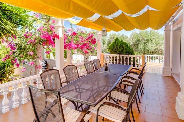 Shaded alfresco dining area