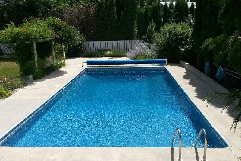 Fabulous solar heated pool for a refreshing swim on those hot days or to just relax by