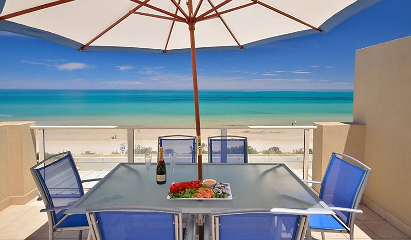 Stunning beach views from beach house terrace