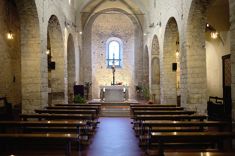 Interior of medieval church San Donnino in neaby village Villamagna